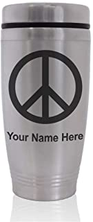 Commuter Travel Mug, Peace Sign, Personalized Engraving Included