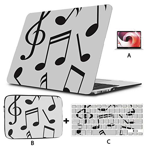 MacBook Accessories Case Abstract Piano Music Note Black Cover MacBook Air 13 Hard Shell Mac Air 11'/13' Pro 13'/15'/16' with Notebook Sleeve Bag for MacBook 2008-2020 Version