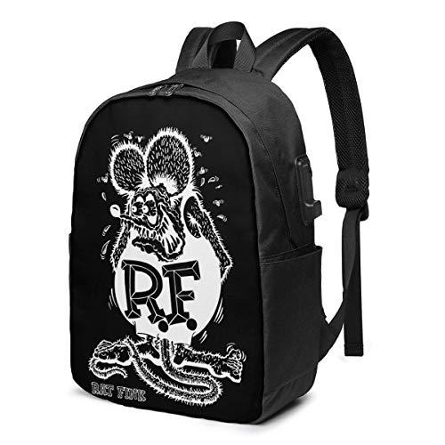 Hdadwy Rat Fink Fashion USB Rucksack 17 Zoll Männer Frauen Casual Laptoptasche Outdoor One Size