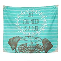 Boy Tapestry Pug Sketch Animal Tapestry For Bedroom Room Decor Wall Hanging Wall Art Tapestry Picnic Mat Beach Towel Bed Cover 150cmX100cm