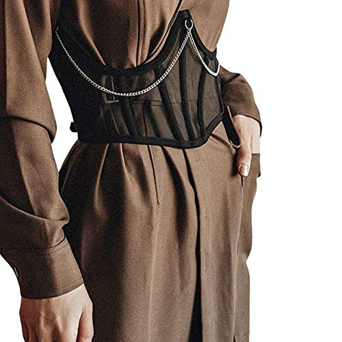 Erllegraly Damen Push Up Bustiers Korsetts Top Durchsichtig Sexy Mesh Shapewear Slim Body Shaper Clubwear (Schwarz-2, S)