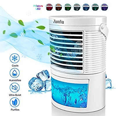 ZumYu Air Cooler Portable 5-in-1 Mini Air Conditioner Personal Space Air Cooling Fan Humidifier Purifier with 3 Adjustable Speeds 7 Colors LED Soft Light for Bedroom, Kitchen, Office