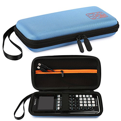 Faylapa Carrying Case Storage for Graphing Calculator Texas Instruments TI-83 Plus TI-84 Plus CE EVA Case Travel Bag Protective Pouch (Blue) Photo #3