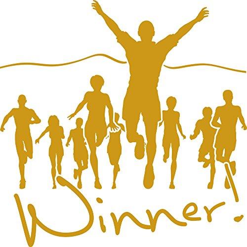 GRAZDesign Wandtattoo Winner Sticker Gewinner Sportler Motivation, Fitness, Fitnessraum (57x57cm//820 Mustard)