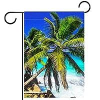 ホームガーデンフラッグ両面春夏庭屋外装飾 12x18inch,熱帯の風景