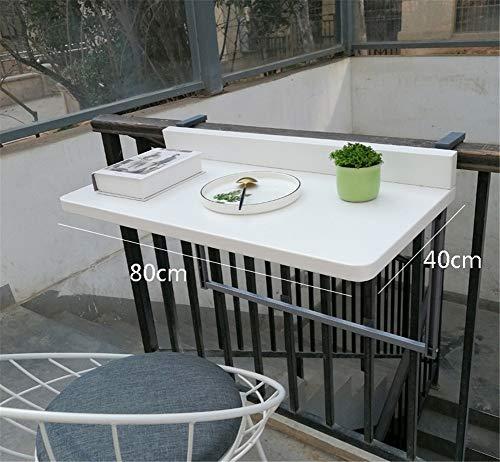 Balcón colgante Tabla, Plegable Ajustable Barandilla lateral Mesa de comedor Adecuado para la mayoría Baranda Patio (2 tamaños),Negro,80 * 40cm