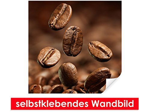 XXL-behang zelfklevende muurschildering Coffee Beans – gemakkelijk te plakken – muurprint, wallpaper, poster, vinylfolie met puntlijm voor muren, deuren, meubels en alle gladde oppervlakken van trendy muren 80x80cm