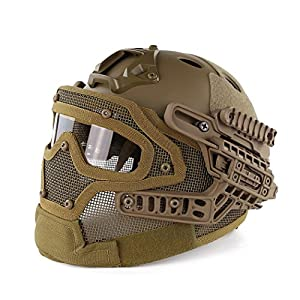 Simways PJ Type Fast Molle Tactical Helmet with Facial Protection System for Airsoft Paintball Live CS and Other Outdoor Activities Free Size (Tan)
