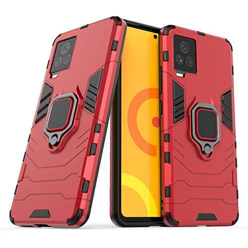 JIAHENG Caja del teléfono For Vivo IQOO7 Caso DE Caso, Funda Delgada con la Cubierta de la Caja del teléfono PC y TPU de TPU con el Titular Cubierta de Cuero (Color : Red)