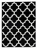 We Love Rugs - Carpeto Orientalisches Marokkanisches Teppich - Flor Modern Designer Muster - Wohnzimmer Schlafzimmer Esszimmer - Schwarz Weiß - 80 x 150 cm