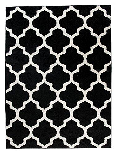 We Love Rugs - Carpeto Orientalisches Marokkanisches Teppich - Flor Modern Designer Muster - Wohnzimmer Schlafzimmer Esszimmer - Schwarz Weiß - 300 x 400 cm