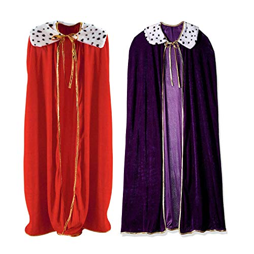 Curated Nirvana King and Queen Robe Bundle (1 of Each) | Red & Purple Faux Velvet Capes for Couples Costume, Wedding, Prom, Mardi Gras, Halloween | 4 feet 4 inches Long