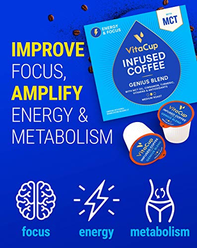 VitaCup Genius Coffee Pods | Energy & Focus | Keto | MCT, Turmeric & Cinnamon | Vitamins B1, B5, B6, B9, B12, D3 | Compatible with Single Serve K-Cup Brewers Including Keurig 2.0, 16 Count