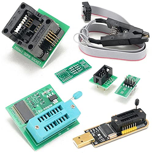 nJiaMe Programador USB BIOS EEPROM CH341A + Clip + 1.8V 8-Pin SOIC Adaptador + Adaptador de SOIC8 Seguro y fiable
