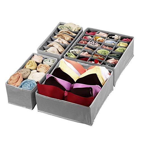 Magicfly Büstenhalter Aufbewahrungsbox, 4 Stück Faltbare BH Organizer für Unterwäsche, Dessous, Socken für Schublade Kleiderschrank Grau
