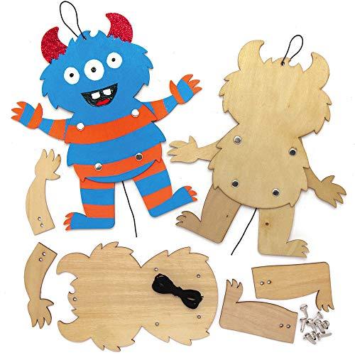 Baker Ross AX243 Halloween Monster Puppen aus Holz Bastelset für Kinder - 4 Stück, Kreative Künstler- und Bastelbedarf zum Basteln und Dekorieren zur Winterzeit