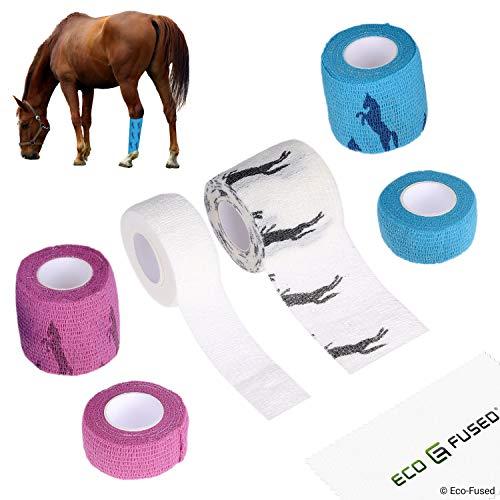 Selbsthaftende Bandage - Sportverletzung Wickel Tape für Pferde - 6er Packung - Unterstützt Muskeln und Gelenke - Einfach anzuwenden und zu reißen - Haftet Nicht am Haar - Elastisch, wasserabweisend