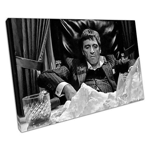 Schwarz-Weiß-Kunstdruck auf Leinwand, Motiv: American Gangster Tony Montana Scarface, 91 x 61 x 2 cm