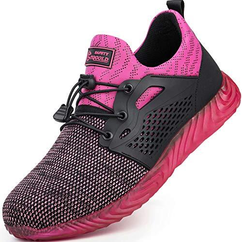 TQGOLD® S3 Sicherheitsschuhe Herren Damen Arbeitsschuhe Leicht Sportlich Sneaker Turnschuhe Schutzschuhe mit Stahlkappe Pink Größe 40