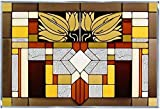 Mission Style, Craftsman Color, 20.5' x 14' Horizontal Stained Glass Panel