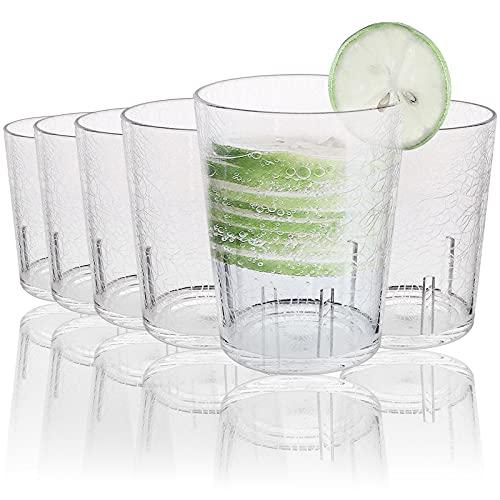 Vasos de Agua,6Pcs 365 ml Vasos Plastico Duro Reutilizable Vasos Agua Cristal Plástico Duro Vasos de Plástico Acrílico Irrompibles para Niños Plástico Duro Reutilizables Cristal Copas Clear