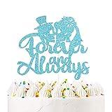 Forever and Always Cake Topper Blue Glitter Mr and Mrs Skull Wedding...