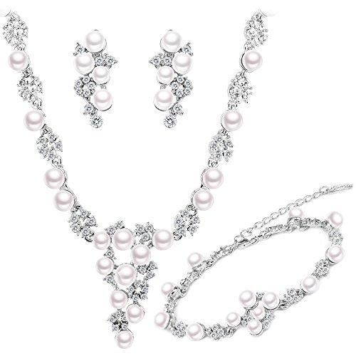 BiBeary Donna Zircon CZ Perle simulate Fashion Fiore Elegante Parure di Gioielli Collana Orecchini Bracciale Argento-Tono