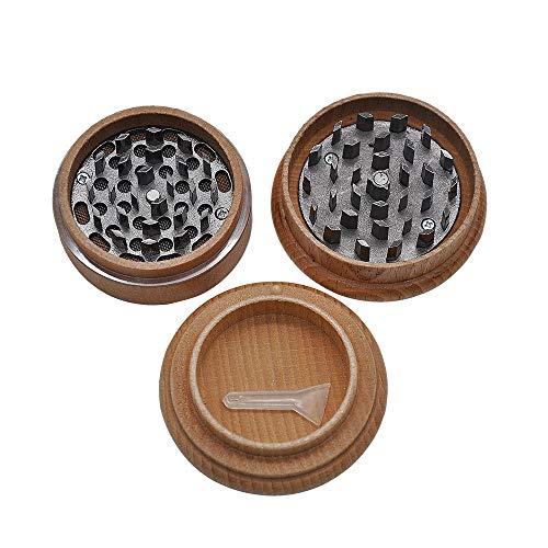 TongBao Mulino per Erbe in Legno Herb Grinder Metal Spice Herb Pollen Crusher Manual 3 Strati 2.4 Pollici