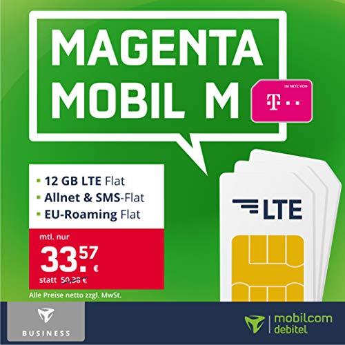 Telekom Handyvertrag Magenta Mobil M – 12 GB LTE Internet Flat, Allnet Flat Telefonie & SMS in alle Deutschen Netze, EU-Roaming, 24 Monate Laufzeit [Business Only]