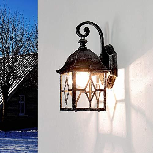 *Rustikale Wandleuchte in schwarz silber inkl. 1x 12W E27 LED Wandlampe aus Aluminium für Garten Terrasse Garten Terrasse Lampe Leuchten außen*