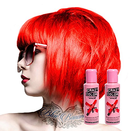2x Crazy Color Semi-Permanente Haarfarbe 100ml (Fire Red - Feuerrot)
