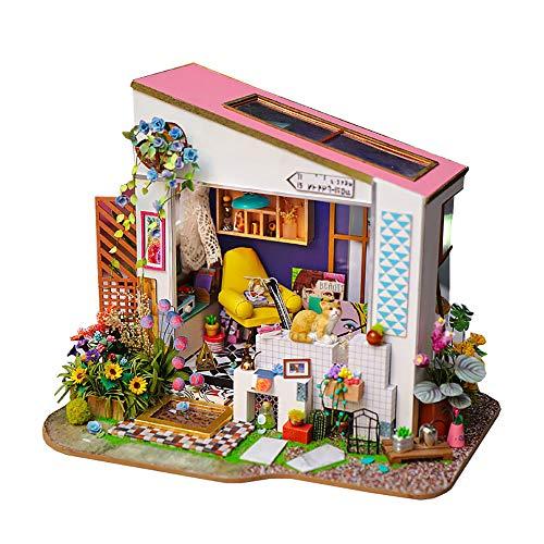 FZ FUTURE Casa de muñecas Miniatura Kit con Muebles, 3D Casa de Miniatura de Madera, DIY Muñecas Miniaturas Kit de Casa, Edificio de Villa de Asamblea Creativa Hecha A Mano,Lily's Porch