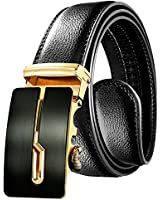 OUFO Leather Belt for Men, Classical Gold Click Automatic Buckle Leather Dress Belt for Men Black Adjustable Strap Belt, Gifts for Husband OK03