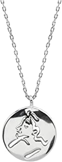 Onefeart Women's 925 Sterling Silver Pendant Necklace Round Shape Portrait Lady Style 45CM Silver