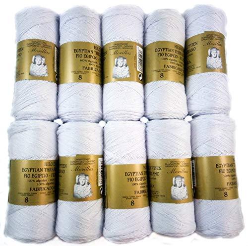 ▷ Pack de 10 Zepelines Ne 8/2 color Blanco punto azul de Algodón perlé 100% egipcio mercerizado...