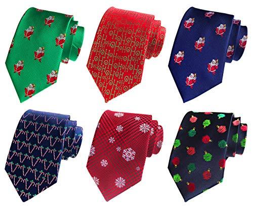 MENDENG Wedding Tie Lot 6 PCS Christmas Necktie Woven Ties Men Green Red Blue