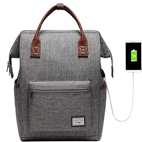 Laptop Backpack for Men Women, Kasgo Water-Resistant Anti-Theft School Backpack Fit 15.6 Inch Laptop Travel Rucksuck with USB Charging Port Casual Daypack for Business College Teenagers Gray