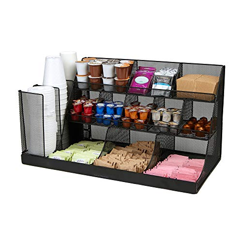Mind Reader Coffee Condiment and Accessories Caddy Organizer, 24 x 12 x 12, Black Metal Mesh