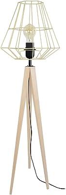 Tosel 51296 Lampadaire 1 Lumière, Bois, E27, 40 W, Noir, 40 x 150 cm