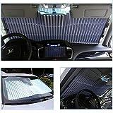 Womdee Auto Sonnenschutz Frontscheibe einziehbar mit Saugnäpfen und Einhand-Einrollfunktion Anti UV Windschutzscheibe, 150 * 65Cm Dehnbar (für Frontscheibe 65cm)
