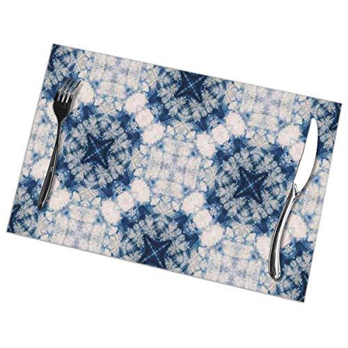 Napperons Ethnique Tribal Tie Dye Effet Imprimer Art en Vedette Formes Impaires Et Brumeuses dans L'axe Symétrique Design Tapis De Table Bleu Gris