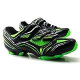 GET Zapatos de Ciclismo de Bicicleta de Montaña para Hombres con Tacos, Pedales SPD Zapatos de Montar Autobloqueantes Transpirables (Color : Verde, Shoe Size : UK-12.5/EU48/US-13.5)