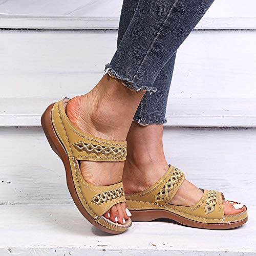 ypyrhh Walking Shoes Open Toe Flatforms,Hollow slope heel sandals and slippers, women's slippers for outer wear-yellow_39,Slip On Sandals Flat Comfort