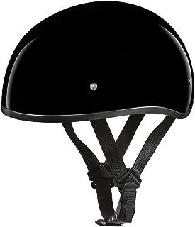 Daytona Helmets Motorcycle Half Helmet Skull Cap- Hi-Gloss Black W/O Visor 100% DOT Approved