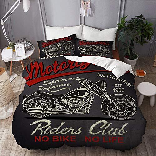 LISNIANY Duvet Cover,Klassische Vintage Motorrad Antik Biker Schwarz Car Club Custom Drive,Mikrofaser Bettbezug 240 * 260cm 2 Kissenbezug 50 * 80cm