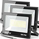 Ustellar 3 Pack 80W Led Flood Lights Outdoor Bright 24000LM Security Lights Outside Lamp IP66 Waterproof 5000K Daylight White Spot Light Exterior Floodlights Fixtures Lighting for Yard Backyard House