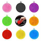 [Pack of 8] Silicone Sponge Dishes Washing Kitchen Scrubber - Reusable Magic Food-Grade Kitchen Sponge for Dishes BPAFree - Smart Dish Cleaning Sponge Kitchen Gadgets Brush Accessories