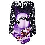 JURTEE Weihnachtskostüme Mode Damen Fröhlich Weihnachten Spitze Panel Weihnachtsmann Claus Drucken T-Shirt Oberteile Bluse Weihnachtsbluse