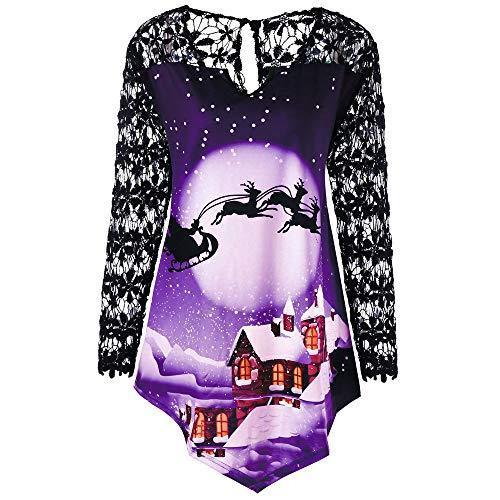 OverDose Damen Frauen Weihnachten Stitching Long Lace Sleeve Printed O-Ausschnitt Weihnachtsmann Cosplay Slim Party Clubbing T-Shirt Tops Bluse Tuniken(Violet,EU-50/CN-5XL)