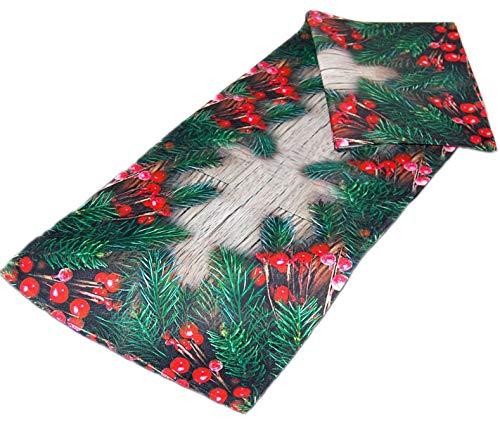 Markenlos Bezaubernde Tischdecke 40x110 cm Kirschlorbeer rot grün Weihnachten Holzdiele Winter Digitaldruck (Tischläufer 40x110 cm)